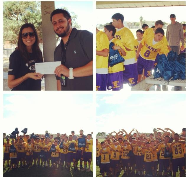 Zanes Law and Presents Sierra Middle School Flag Football Team With a $350 Check